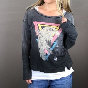 H&M Divided Eagle distressed top size 2